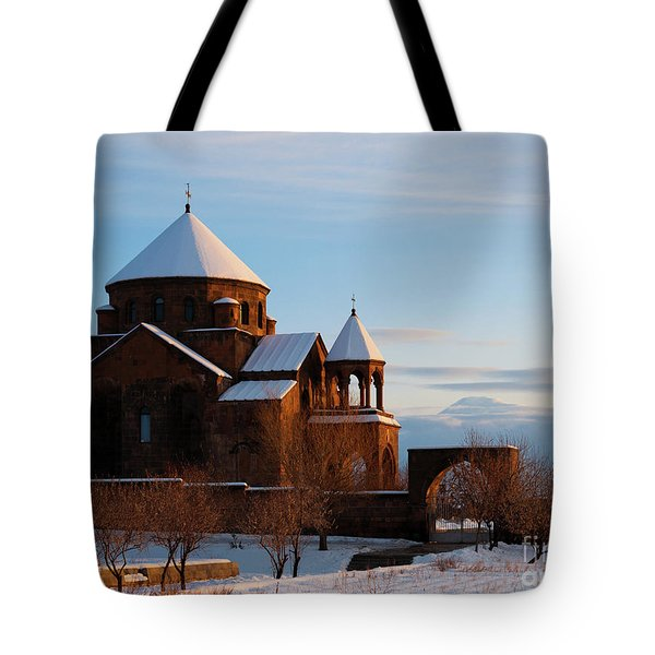 Snow Capped St. Hripsipe Church At Winter, Armenia Tote Bag