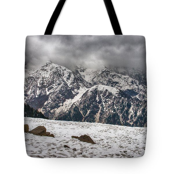 Tote Bag featuring the photograph Snow Capped Triund Hill by Yew Kwang