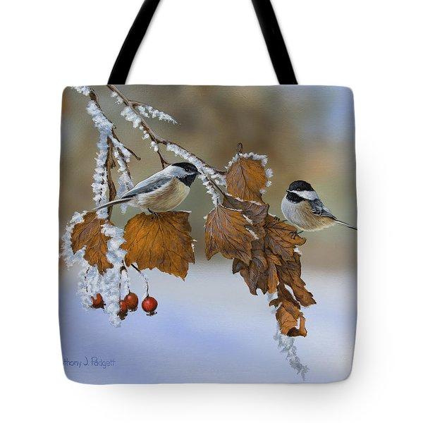 Snow Chickadees Tote Bag