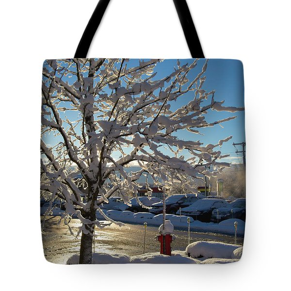 Snow-coated Tree Tote Bag
