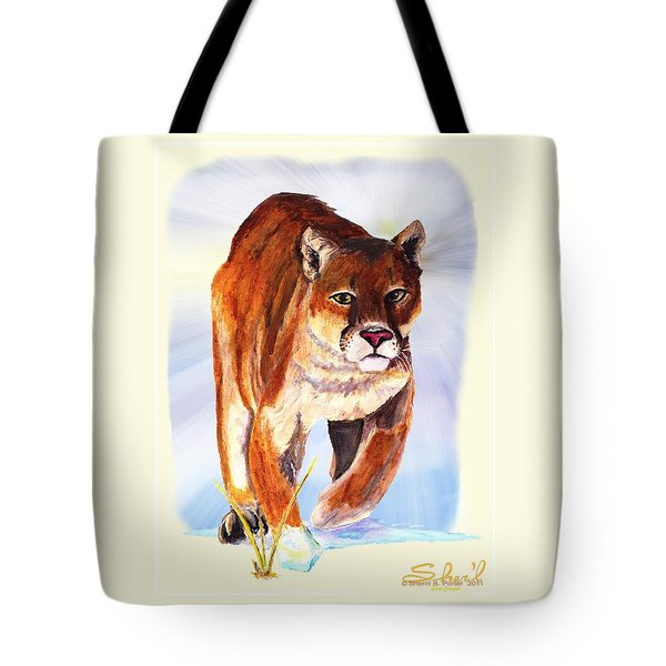 Snow Cougar Tote Bag by Sherril Porter