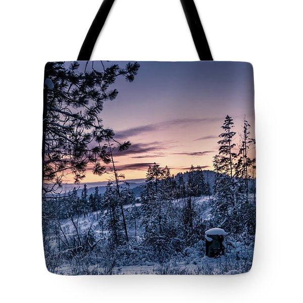 Snow Coved Trees And Sunset Tote Bag