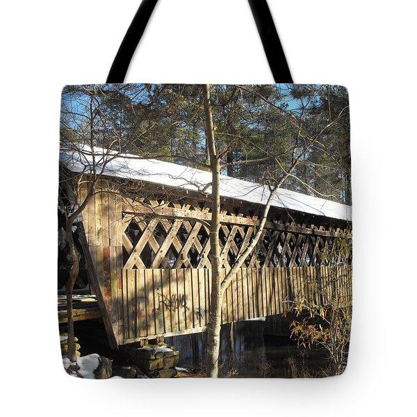 Snow Covered Bridge Tote Bag by Adam Cornelison