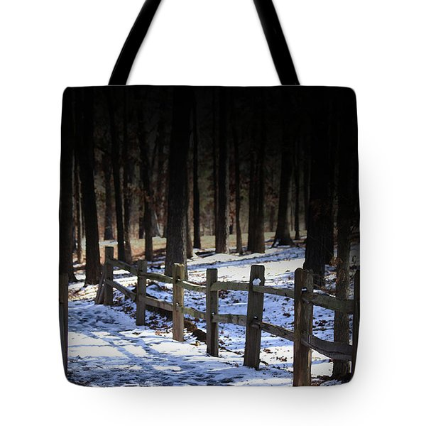 Tote Bag featuring the digital art Snow Covered Bridge by Kim Henderson