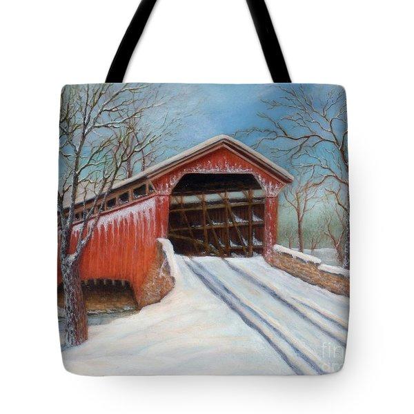 Snow Covered Bridge Tote Bag
