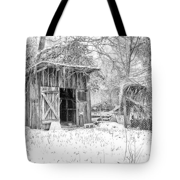 Snow Covered Chicken House Tote Bag