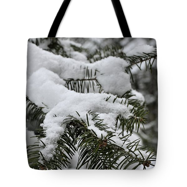 Snow Covered Evergreen Tote Bag by Birgit Tyrrell