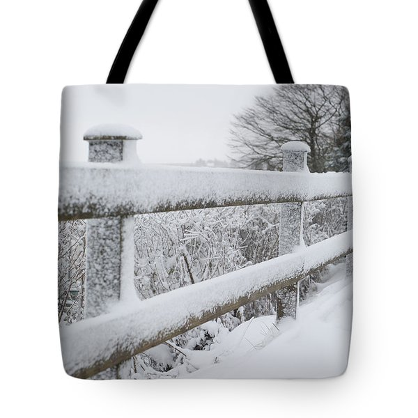 Snow Covered Fence Tote Bag by Helen Northcott