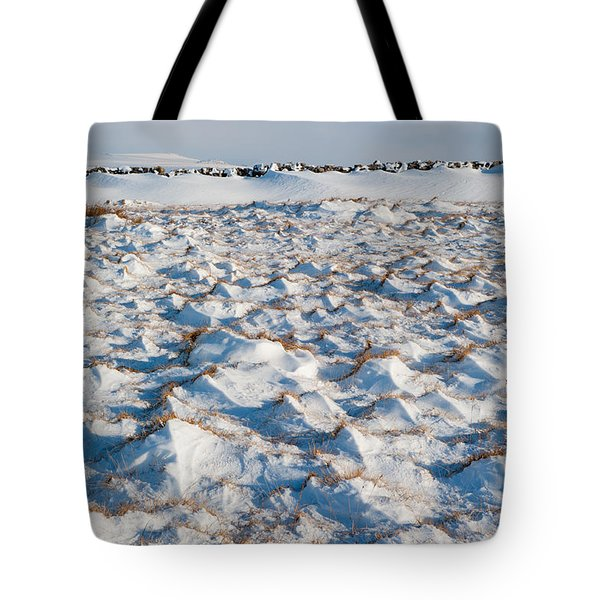 Snow Covered Grass Tote Bag
