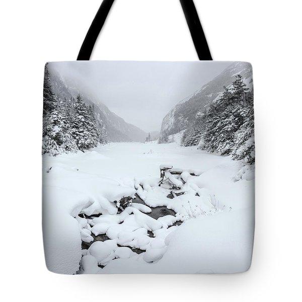 Snow Covered Lake Tote Bag