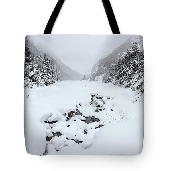 Snow Covered Lake Tote Bag