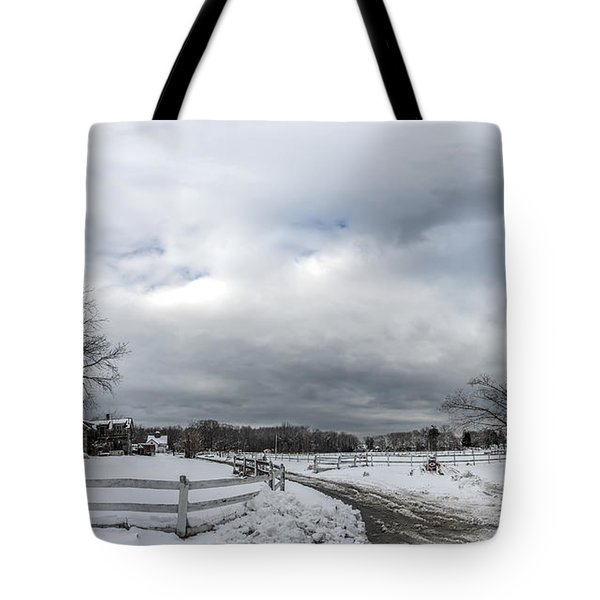 Snow Covered Maryland Stable In Winter Tote Bag