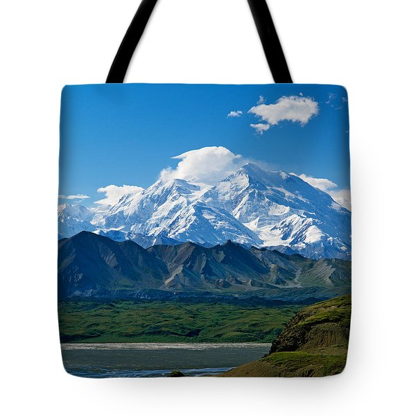 Snow-covered Mount Mckinley, Blue Sky Tote Bag