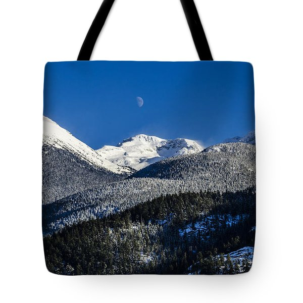 Snow Covered Mountains And Moon Tote Bag