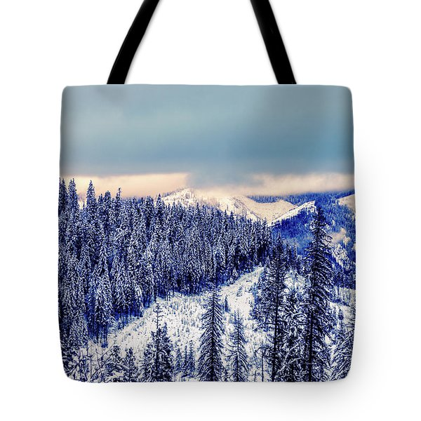 Tote Bag featuring the photograph Snow Covered Mountains by Lester Plank
