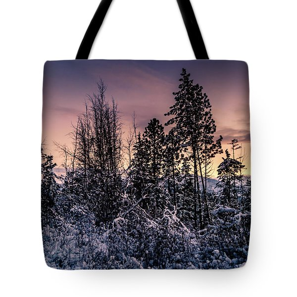 Tote Bag featuring the photograph Snow Covered Pine Trees by Lester Plank