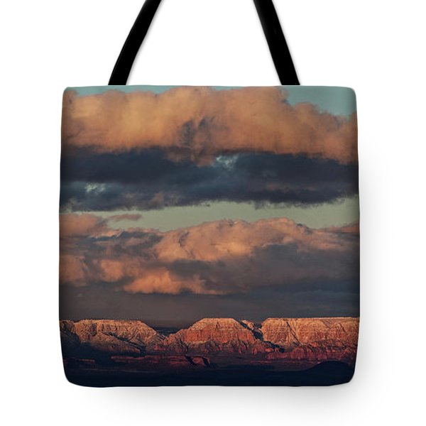 Snow Covered Red Rock Panorama Tote Bag by Ron Chilston