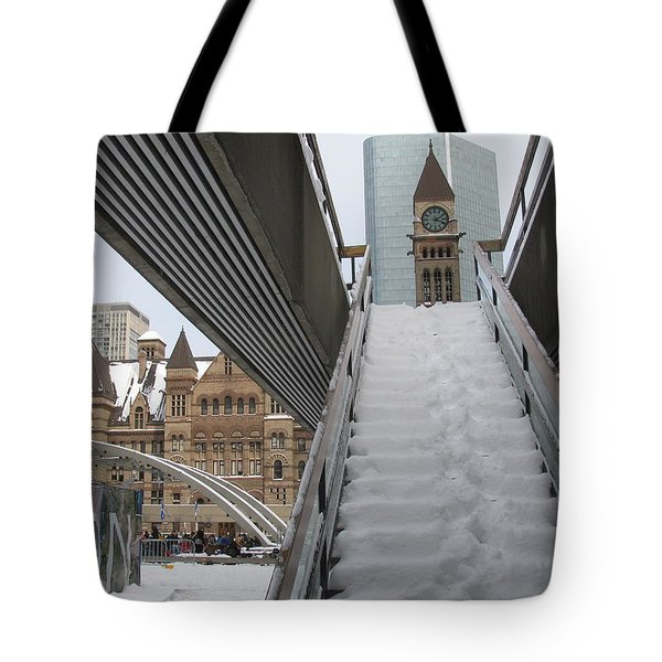 Snow Covered Stairs Tote Bag