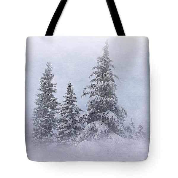 Snow Covered Trees Tote Bag by Angie Vogel