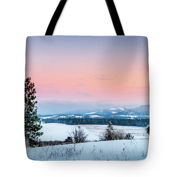 Tote Bag featuring the photograph Snow Covered Valley by Lester Plank