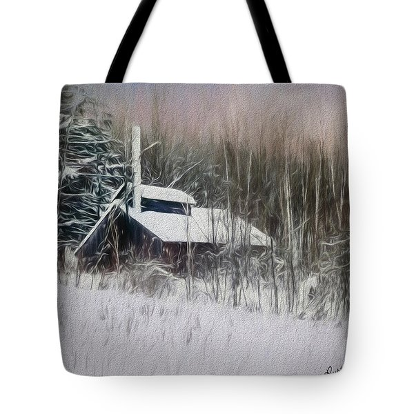 Snow Covered Vermont Sugar Shack.  Tote Bag
