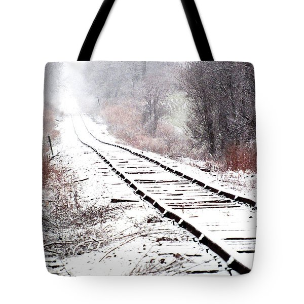 Snow Covered Wisconsin Railroad Tracks Tote Bag