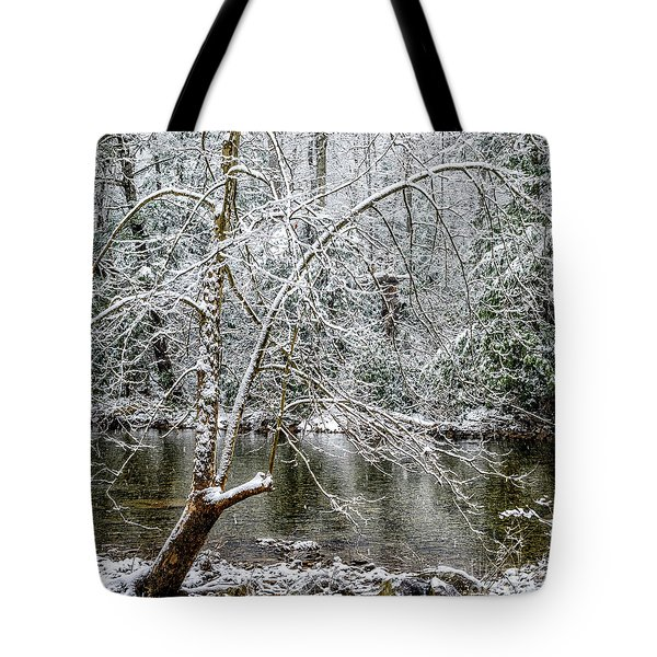 Tote Bag featuring the photograph Snow Cranberry River by Thomas R Fletcher
