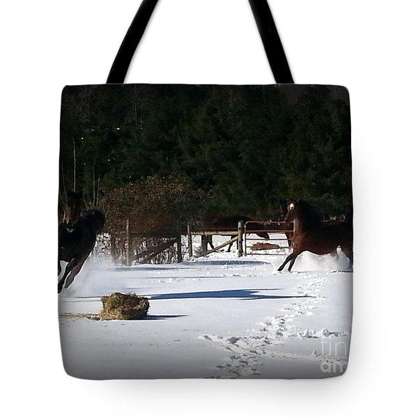 Snow Dancing Tote Bag