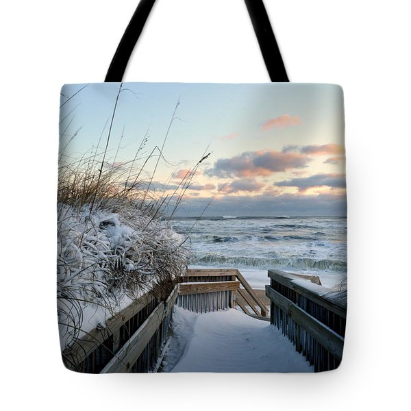 Snow Day At The Beach Tote Bag