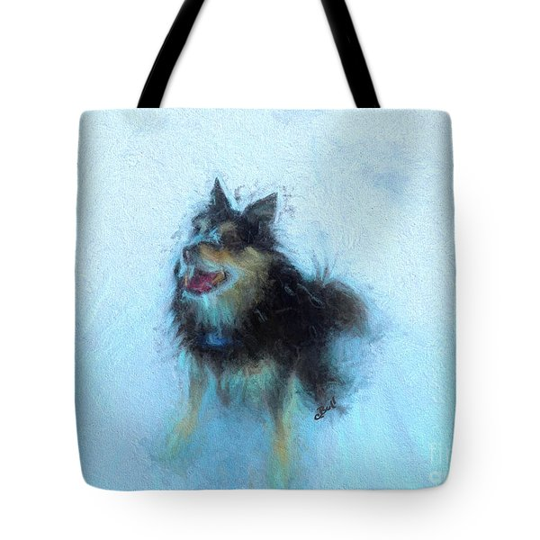 Snow Dog  Tote Bag by Claire Bull