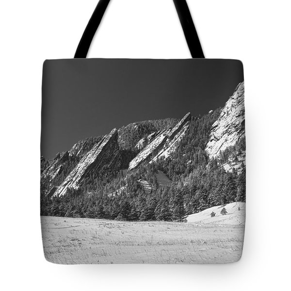 Snow Dusted Flatirons Boulder Co Panorama Bw Tote Bag by James BO  Insogna