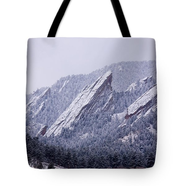 Snow Dusted Flatirons Boulder Colorado Tote Bag