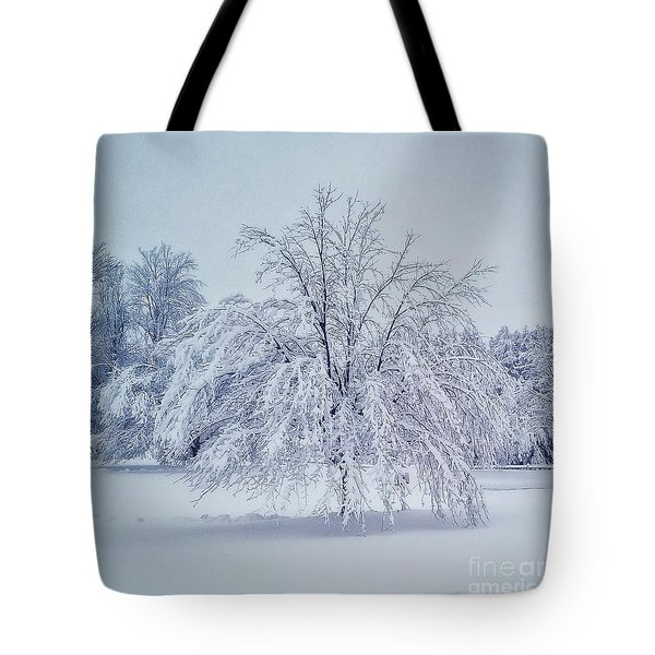 Snow Encrusted Tree Tote Bag
