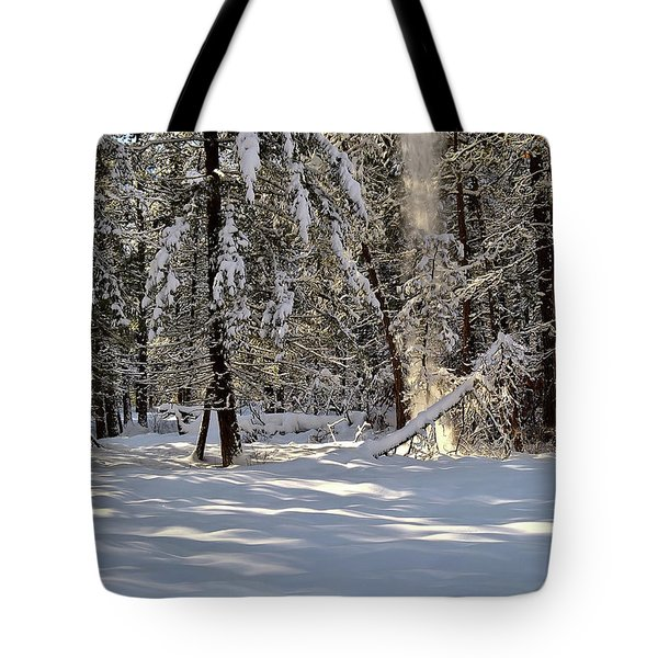 Snow Falling Off Cedars Tote Bag