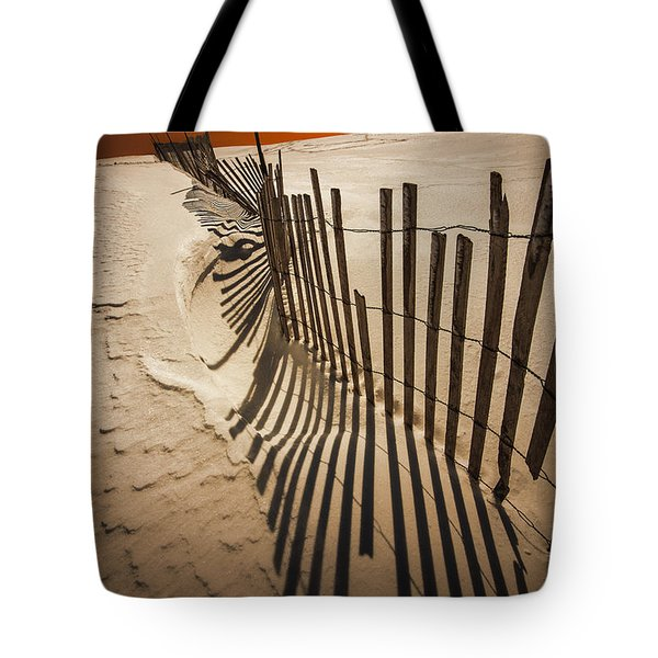 Snow Fence At Sunset Tote Bag