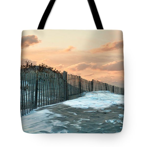 Tote Bag featuring the photograph Snow Fence by Robin-Lee Vieira
