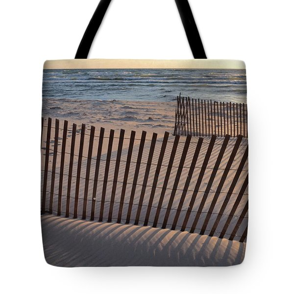 Tote Bag featuring the photograph Snow Fences 2.0 by Michelle Calkins