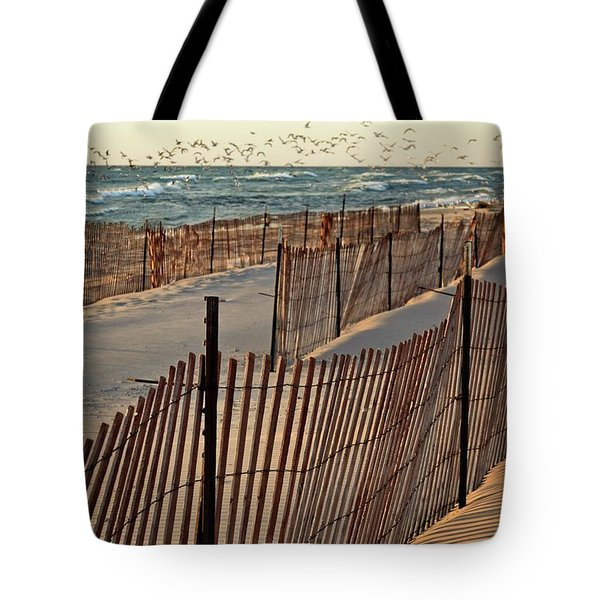 Tote Bag featuring the photograph Snow Fences 3.0 by Michelle Calkins