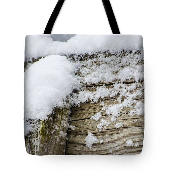 Snow Fluff And Woodgrain Tote Bag
