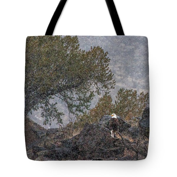 Tote Bag featuring the photograph Snow Flurry Bald Eagle by Britt Runyon