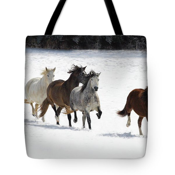 Snow Gallop Tote Bag