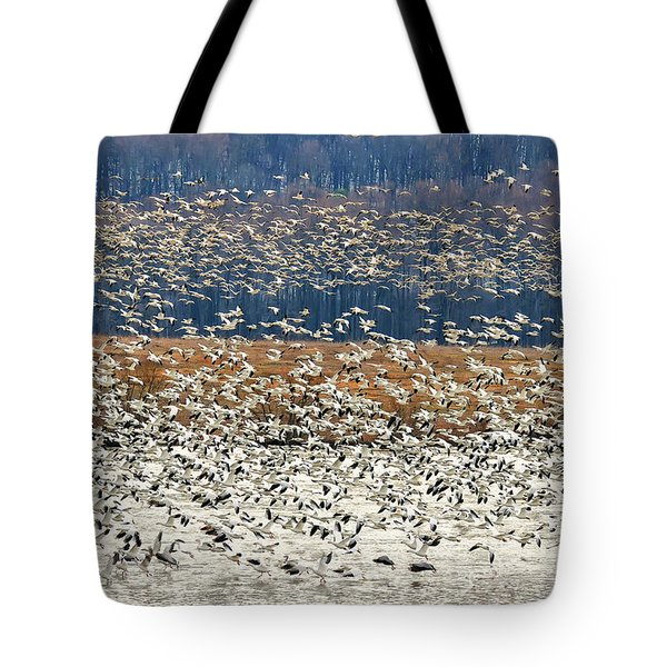 Tote Bag featuring the photograph Snow Geese At Willow Point by Lois Bryan