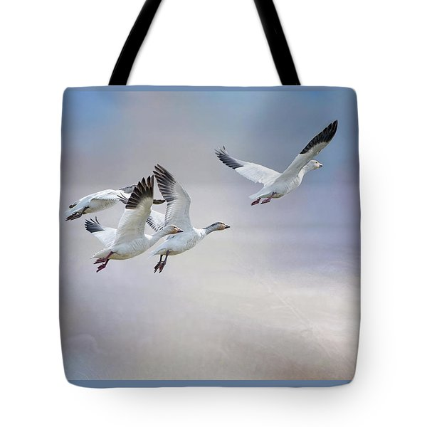 Snow Geese In Flight Tote Bag by Bonnie Barry