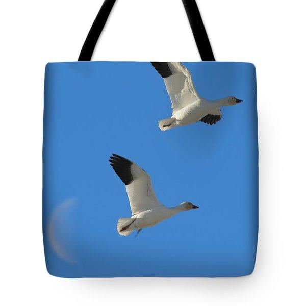 Snow Geese Moon Tote Bag