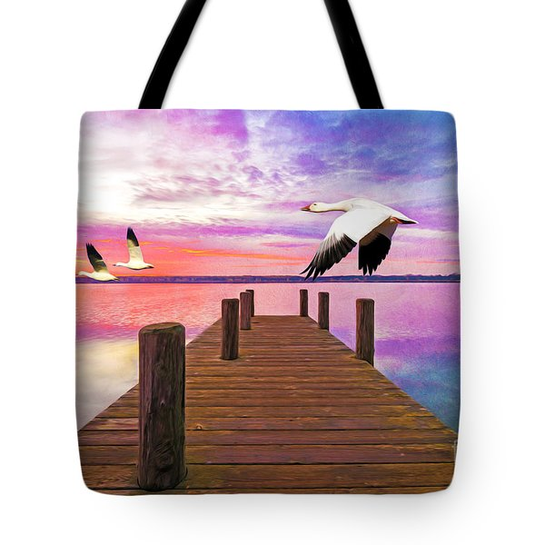 Snow Geese Passing Through Tote Bag