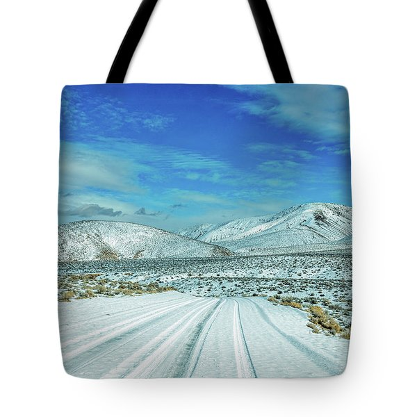 Tote Bag featuring the photograph Snow In Death Valley by Peter Tellone