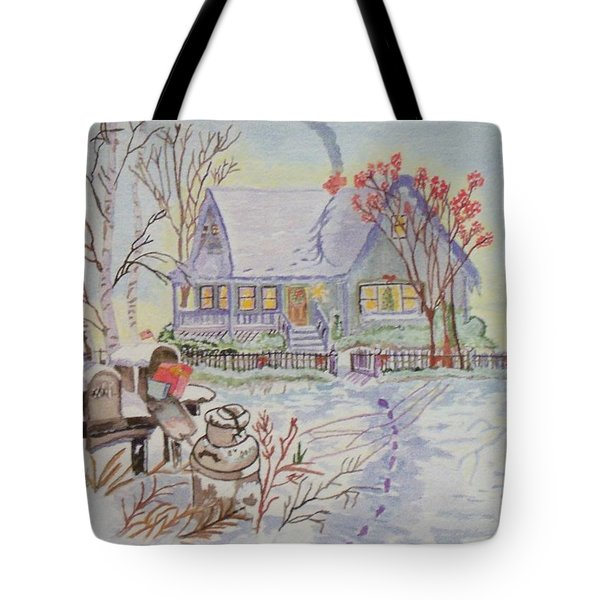 Tote Bag featuring the painting Snow In Oregon by Connie Valasco