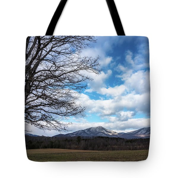 Snow In The High Mountains Tote Bag