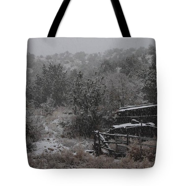 Snow In The Old Santa Fe Corral Tote Bag