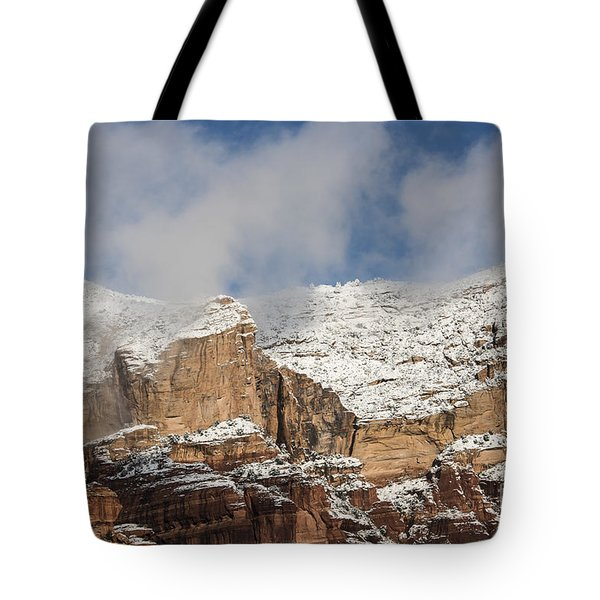 Tote Bag featuring the photograph Snow Kissed Morning In Sedona, Az by Sandra Bronstein